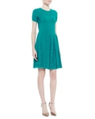 Shoshanna Short-Sleeve Fit-and-Flare Sweater Dress Caribbean Green at Neiman Marcus