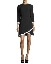 Shoshanna Sutter 3 4 Sleeves Faux-Wrap Scalloped Dress   Neiman at Neiman Marcus