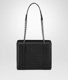 Shoulder Bag in Nero Intrecciato Nappa at Bottega Veneta