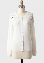 Shoulder embellished cardigan at Ruche