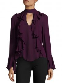 Sia Choker Ruffled Bell-Sleeve Silk Blouse at Saks Fifth Avenue