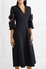Sibella bow-detailed satin-trimmed crepe midi dress at Net A Porter