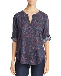 Side Stitch Floral Print Roll Tab Top at Bloomingdales