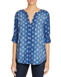 Side Stitch Shirred Roll Sleeve Chambray Top at Bloomingdales