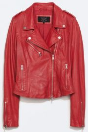 Side gathered leather jacket at Zara