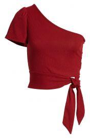 Side tie one shoulder crop top at Nordstrom