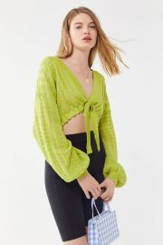 Sienna Tie-Front Balloon Sleeve Cropped Sweater at Urban Outfitters