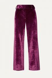 Sies Marjan - Sonya satin-trimmed crushed-velvet straight-leg pants at Net A Porter