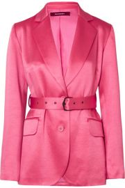Sies Marjan - Terry belted satin blazer at Net A Porter