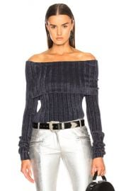 Sies Marjan Daphne Velour Rib Off Shoulder Sweater in Graphite   FWRD at Forward