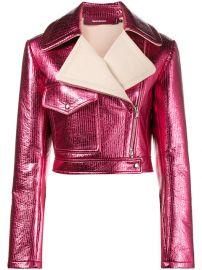 Sies Marjan Pink Metallic Cropped Lurex Biker Jacket  1 795 - Shop AW17 Online - Fast Delivery  Price at Farfetch