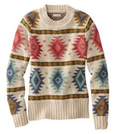 Signature Cotton Slub Sweater in Natural Fair Isle at LL Bean