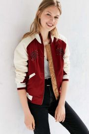 Silence + Noise On Tour Satin Varsity Bomber Jacket at Urban Outfitters