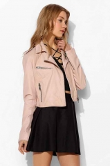 Silence and Noise Pinky Cropped Leather Jacket at Urban Outfitters