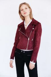 Silence and Noise Vegan Suede Biker Jacket in Maroon at Urban Outfitters