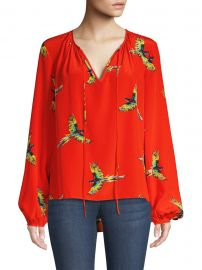Silk Keyhole Blouse at Saks Fifth Avenue