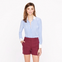 Silk Boy Blouse with Contrast Trim at J. Crew