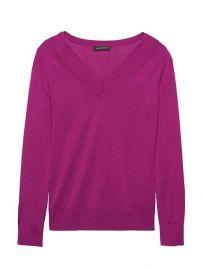 Silk Cashmere Varsity V-Neck Sweater at Banana Republic