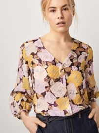 Silk Fil Coupe Shirt in Floral Print at Massimo Dutti