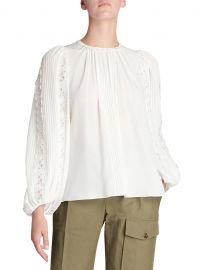 Silk Georgette Lace-Sleeve Top at Saks Fifth Avenue