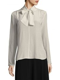Silk Polka Dot Tie-Neck Blouse Max Mara at Saks Fifth Avenue