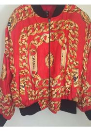 Silk Red Bomber Jacket by Chanel at Etsy