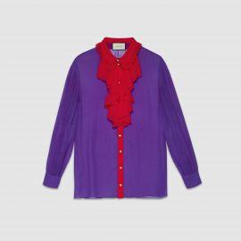 Silk Ruffle Front Shirt by Gucci at Gucci