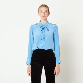 Silk Shirt with Bow Collar at Sandro