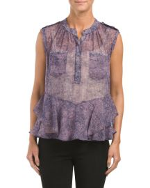 Silk Static Ruffle Top by Rebecca Taylor at TJ Maxx