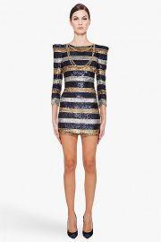 Silk Stripe Sequin Dress by Balmain at Ssense