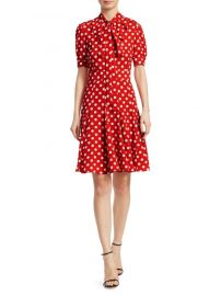 Silk Tie-Neck Polka Dot Dress Michael Kors Collection at Saks Fifth Avenue