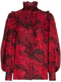 Silk Tiger Print Tie Neck Blouse by Gucci at Farfetch