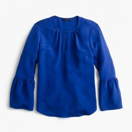 Silk bell-sleeve top blue at J. Crew