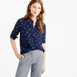 Silk popover shirt in polka dot at J. Crew