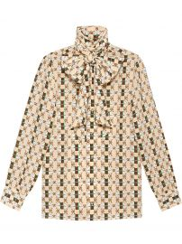 Silk shirt with Web GG Print by Gucci at Farfetch