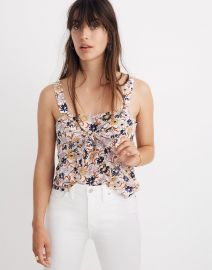 Silk tie front cami top at Madewell