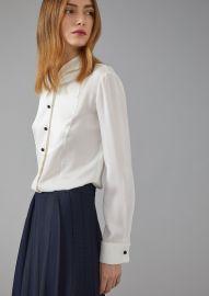 Silk twill dinner shirt with plastron by Giorgio Armani at Armani