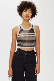 Silver Knitted Metallic Tank Top at Topshop