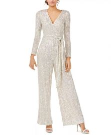 Silver Long-Sleeve Jumpsuit at Macys