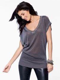 Silver Slit Sleeve Tunic at Cache
