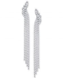 Silver-Tone Crystal Mesh Fringe Drop Earrings at Macys