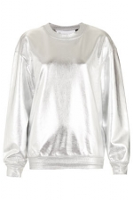 Silver metallic sweatshirt at Topshop at Topshop