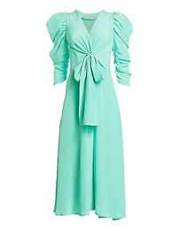 Silvia Tcherassi - Hel Silk Bow Puff-Sleeve Midi Dress at Saks Fifth Avenue