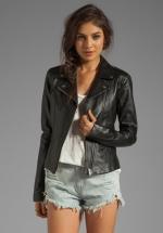 Similar black leather jacket at Revolve