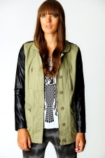 Similar jacket with leather sleeves at Boohoo