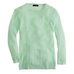 Similar mint green cable knit sweater at J. Crew