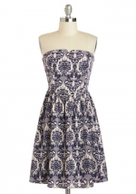 Similar printed strapless dress at Modcloth