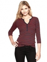 Similar red striped henley top at Gap