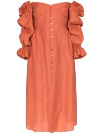 Simona off-the-shoulder puff sleeve button down midi dress at Farfetch
