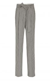 Simone Belted Houndstooth Wool Tapered Pants by Prabal Gurung at Moda Operandi